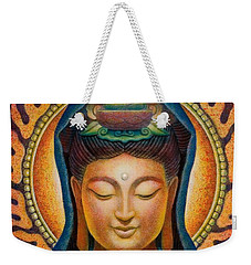 Weekender Tote Bag featuring the painting Kuan Yin Flame by Sue Halstenberg