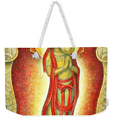 Weekender Tote Bag featuring the painting Kuan Yin Lotus by Sue Halstenberg