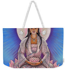 Weekender Tote Bag featuring the painting Kuan Yin by Sue Halstenberg