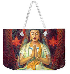 Weekender Tote Bag featuring the painting Kuan Yin's Prayer by Sue Halstenberg