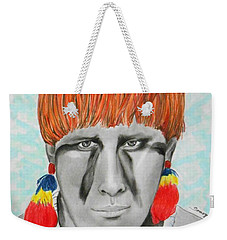 Kuikuro From Brazil -- Portrait Of South American Tribal Man Weekender Tote Bag