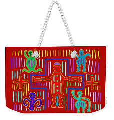 Weekender Tote Bag featuring the digital art Kuna Indian Mola Crucifix by Vagabond Folk Art - Virginia Vivier