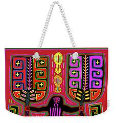 Weekender Tote Bag featuring the digital art Kuna Indian Mola Man With Fans by Vagabond Folk Art - Virginia Vivier
