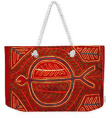Weekender Tote Bag featuring the digital art Kuna Indian Stingray Mola by Vagabond Folk Art - Virginia Vivier