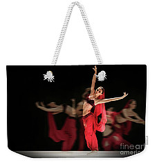 Weekender Tote Bag featuring the photograph La Bayadere Ballerina In Red Tutu Ballet by Dimitar Hristov