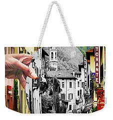 Weekender Tote Bag featuring the digital art La Comacina Ristorante-colonno, Ital by Jennie Breeze