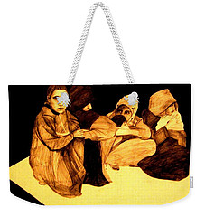 Weekender Tote Bag featuring the drawing La It Khafeen Habibti by MB Dallocchio
