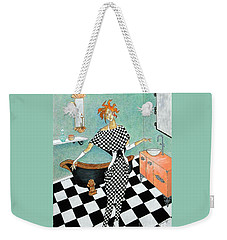 La Toilette -- Woman In Whimsical Art Deco Bathroom Weekender Tote Bag