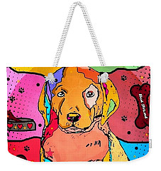 Weekender Tote Bag featuring the digital art Labrador Popart By Nico Bielow by Nico Bielow
