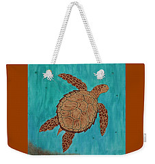 Weekender Tote Bag featuring the painting Lacey's Sea Turtle by Susie WEBER
