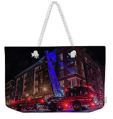 Ladder Truck Deployed At Night Weekender Tote Bag by Jeff at JSJ Photography