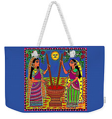 Weekender Tote Bag featuring the digital art Ladies Crushing Chili Peppers by Latha Gokuldas Panicker