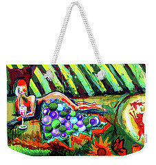 Weekender Tote Bag featuring the painting Lady And The Grapes by Genevieve Esson