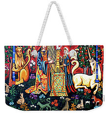 Weekender Tote Bag featuring the painting Lady And The Unicorn Sound by Genevieve Esson