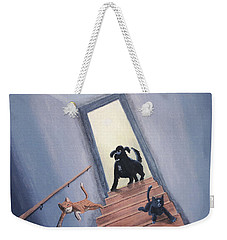 Lady Chases The Cats Down The Stairs Weekender Tote Bag