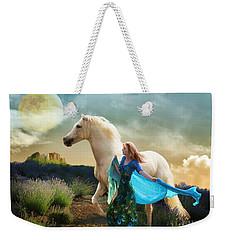 Weekender Tote Bag featuring the digital art Lady In Blue by Melinda Hughes-Berland