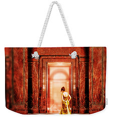 Lady In Golden Gown Walking Through Doorway Weekender Tote Bag