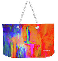 Weekender Tote Bag featuring the digital art Lady In Prayer For The People Affected By The Hurricane And Storms by Sherri Of Palm Springs