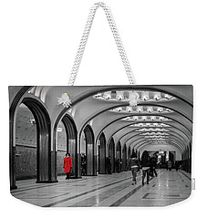 Weekender Tote Bag featuring the photograph Lady In Red by Geoff Smith