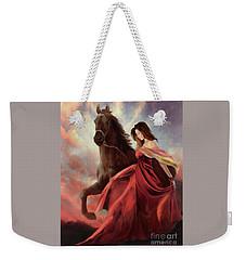 Weekender Tote Bag featuring the digital art Lady In Red by Melinda Hughes-Berland