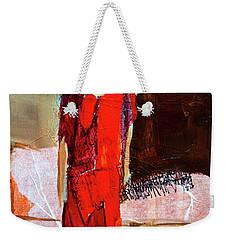 Weekender Tote Bag featuring the painting Lady In Red by Nancy Merkle
