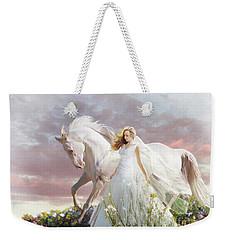 Weekender Tote Bag featuring the digital art Lady In White by Melinda Hughes-Berland