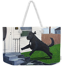 Lady Leaps The Small Front Stairs Weekender Tote Bag