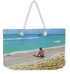 Weekender Tote Bag featuring the digital art Lady On The Beach by Francesca Mackenney