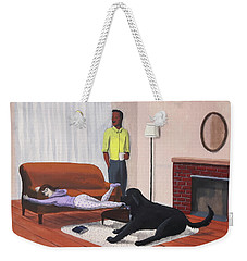 Lady Pulling Mommy Off The Couch Weekender Tote Bag