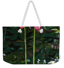 Weekender Tote Bag featuring the painting Lady Slipper by Lynne Reichhart