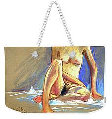 Lady With Blue Weekender Tote Bag