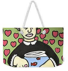 Lady With Fish Bowl Weekender Tote Bag