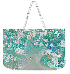 Weekender Tote Bag featuring the digital art Lady With Love Of The Fountain by Sherri Of Palm Springs