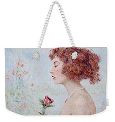 Lady With Roses  Weekender Tote Bag by Pierre Van Dijk