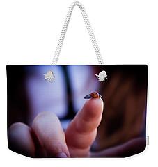 Ladybug On  Finger  Weekender Tote Bag by Bruno Spagnolo