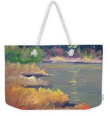 Weekender Tote Bag featuring the painting Lagoon by Nancy Merkle
