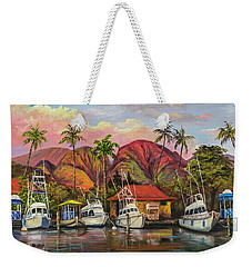 Weekender Tote Bag featuring the painting Lahaina Harbor Sunset by Darice Machel McGuire
