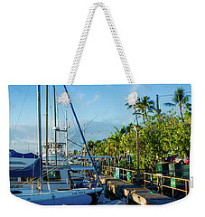 Weekender Tote Bag featuring the photograph Lahaina Marina Blue Twilight by Sharon Mau