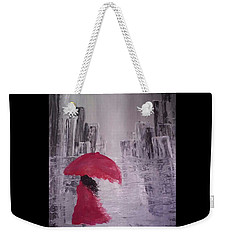 Weekender Tote Bag featuring the painting Laidy In The City Abstract Art by Sheila Mcdonald
