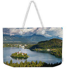 Weekender Tote Bag featuring the photograph Lake Bled Pano by Brian Jannsen