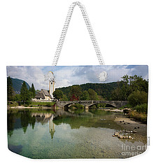 Lake Bohinj With Church In Slovenia Weekender Tote Bag by IPics Photography