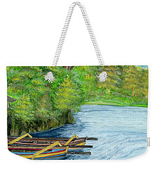 Weekender Tote Bag featuring the painting Lake Bratan Boats Bali Indonesia by Melly Terpening