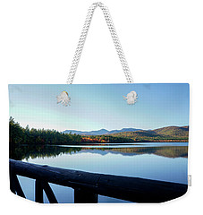 Weekender Tote Bag featuring the photograph Lake Chocorua Autumn by Nancy De Flon