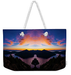 Lake Crescent Reflection Weekender Tote Bag by Pelo Blanco Photo