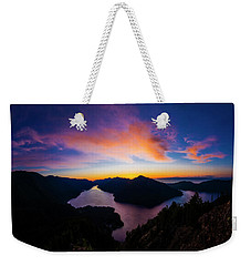 Lake Crescent Sunset Weekender Tote Bag by Pelo Blanco Photo