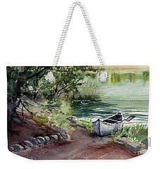 Weekender Tote Bag featuring the painting Lake Dreams by Kris Parins