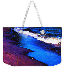 Weekender Tote Bag featuring the photograph Lake Erie Shore Abstract by Shawna Rowe