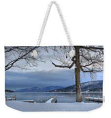 Weekender Tote Bag featuring the digital art Lake George In The Winter by Sharon Batdorf