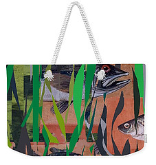 Weekender Tote Bag featuring the mixed media Lake Habitat by Andrew Drozdowicz