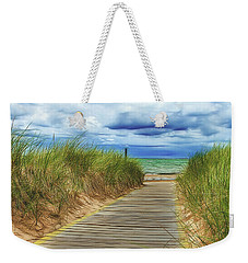 Weekender Tote Bag featuring the photograph Lake Huron Boardwalk by Bill Gallagher